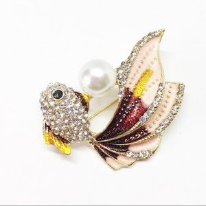 Koi Gold Fish Brooch Pendant Crystals Enameled Red